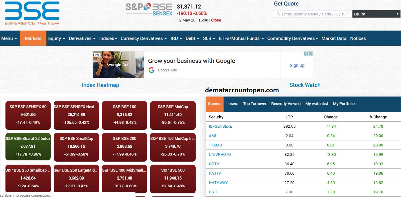 Best Stock Market Websites in India BSE India