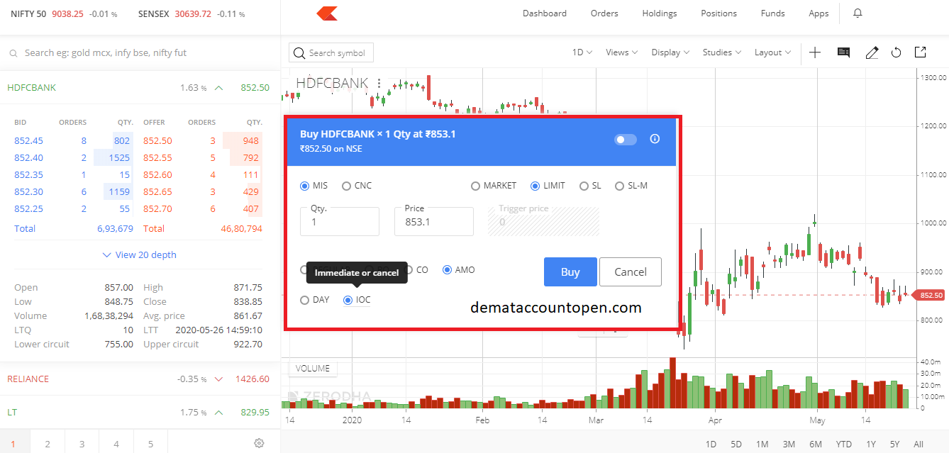 How to Buy & Sell shares in Zerodha - IOC Validity