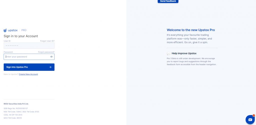 Upstox pro 3 login page