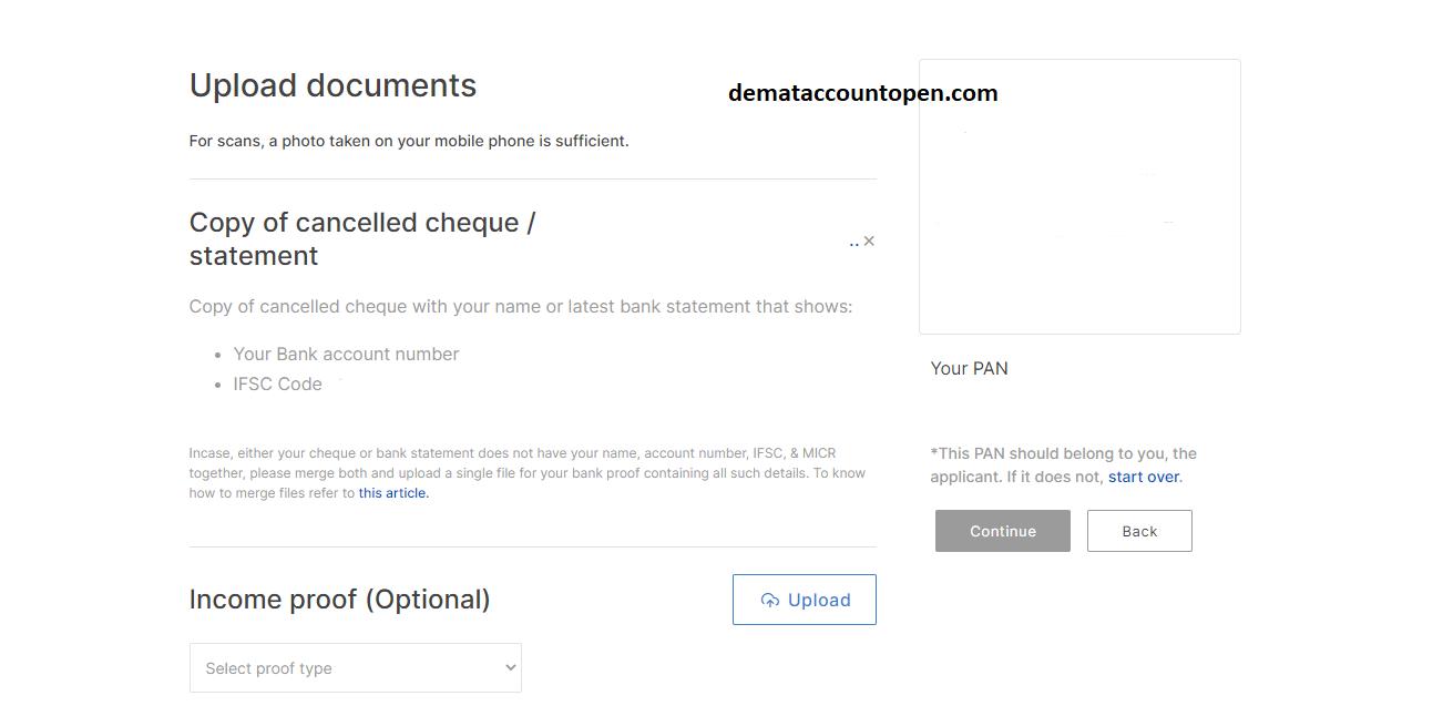 Open Zerodha Demat Account - Upload Documents