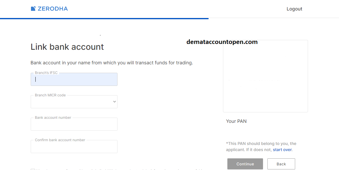 open zerodha demat account - Enter Bank Details