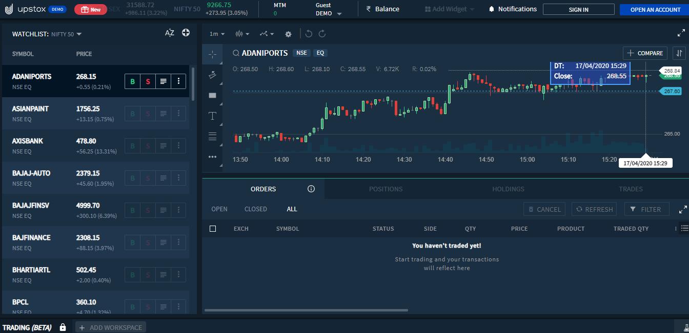 Upstox Pro Trading Platform